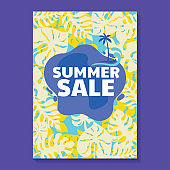 Summer Sale Illustration with Popsicle, Beach and Tropical Leaves Background