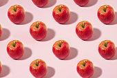 Apple Fruit Pattern on Pink Pastel Background