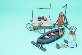 Sport equipments on green background. 3d rendering