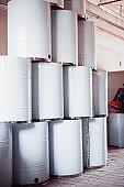 Radioactive barrels at a large waste recycling factory