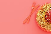 Spaghetti on pink background. 3d render