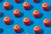Apple Fruit Pattern on Blue Background