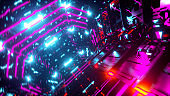 Digital metallic spaceship interior. Neon colored lights