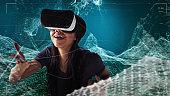 African ethnicity woman exploring virtual mountains. Reaching for an virtual data