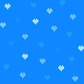 Blue 8-bit cute background with hearts.