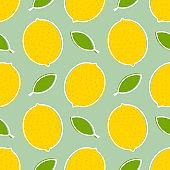Summer lemon and leaves retro seamless pattern.