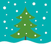 Christmas tree in winter landscape holiday card.