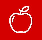 Apple white line icon vector