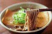 Kitsune soba. Buckwheat noodles.Japanese food.