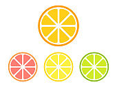 Different citrus slices set