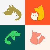 Set of Dog and cat logo