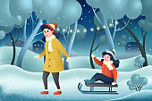 Mother and daughter sledding in a winter park. Family winter fun holiday card. Merry christmas and happy new year. Cartoon characters, it's snowing winter background, winter vacation greeting card