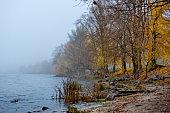 Autumn morning on the Dnieper River. Ukraine.