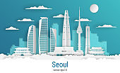 Paper cut style Seoul city, white color paper, vector stock illustration. Cityscape with all famous buildings. Skyline Seoul city composition for design