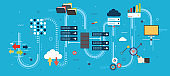 Big Data and cloud computing banner with icons.