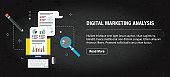 Digital marketing analysis, banner internet with icons in vector.