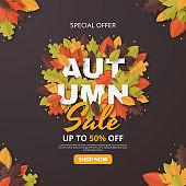 Autumn Sale banner template. Folded Paper art.