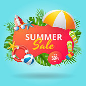 Summer sale vector banner design with colorful beach elements. Vector illustration