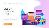 Strike action concept landing page.