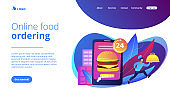 Food delivery service concept landing page.