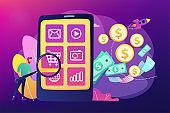 App monetization concept vector illustration.