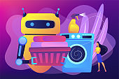 Home robot technology concept vector illustration.