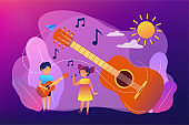 Musical camp concept vector illustration.