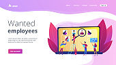 Wanted employees concept landing page