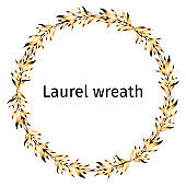 The laurel golden wreath of the winner for the decoration of cards, gifts, greetings and posters. Text frame with golden olive leaves.