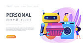 Home robot technology concept landing page.