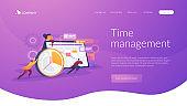 Time management landing page concept