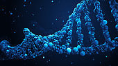 3d render abstract DNA strand made of spheres.