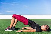 Bridge hip raise butt lift workout fitness woman