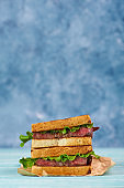sandwich katsu sando with beef steak. wagyu katsu. japanese cuisine traditional food. Trendy healthy fast food