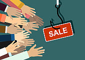 Fish hook with a label and text: sale. concept of special offer or fraud. Hands stretching. Illustration in flat style.