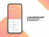 Vector Design Template Calendar App UI UX Concept