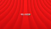 3D Vector Curved Smooth Lines Deep Red Abstract Background