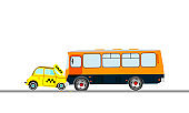 The collision of a taxi car and bus. Vector illustration.