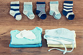 Clothing for newborn, concept of expecting for baby