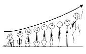 Cartoon of Group of Businessmen Under Growing Financial Chart Showing Various Emotions
