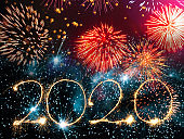vibrant firework with 2020 numbers