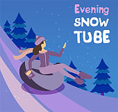 Vector cartoon flat girl in hat sledging along the slope with fir trees at inflatable tube, snowtubing outdoors in winter at evening. Young woman sledding on snow rubber tube. Winter activity