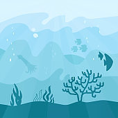 Underwater cartoon flat background with fish silhouette, seaweed, coral, squid, jellyfish. Ocean sea life in different shades of the aquamarine color . Vector illustration of Undersea Landscape