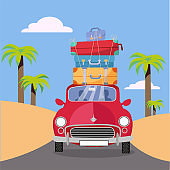 Treveling by red car with pile of luggage bags on roof near beach with palms. Summer tourism, travel, trip. Flat cartoon vector illustration. Car front View With stack Of suitcases