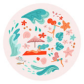 Set of girls in bikini on the beach. Cartoon flat people in vector. Round composition with beaches accessories, marine life and ocean waves. Summer holiday elements in scandinavian style.
