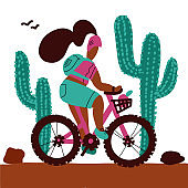 Young woman with a backpack and wearing a helmet rides a mountain bike alonf big cactuses. Isolated white background cartoon vector doodle drawing. Cute lady on Active vacation in derest.