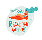Ride the wave lettering quote. Cute Surfing girl lying on the surf board catching waves in the ocean. Young Woman with surfboard on the beach wearing bikini vector illustration cartoon clipart.
