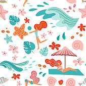 Tropical background with palm leaves, ocean waves and girls in bikini. Seamless summer holiday pattern. beach vector illustration in scandinavian style on white background