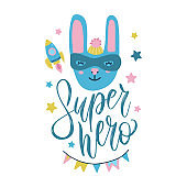 Super hero bunny cute baby print. Sweet rabbi tface with funny costume, mask and cape among stars and rocket. Fashion child vector. Cool scandinavian illustration for t-shirt, kids apparel, invitation