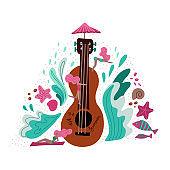 Summer holiday Music metaphor flat illustration. Cartoon girls near huge guitar hand drawn character. Scandinavian style decorative waves and shells. Music festival promo banner, poster design element